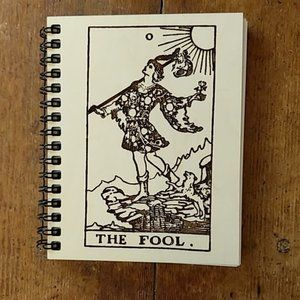 The Fool Tarot Card Laser Etched Wooden Notebook
